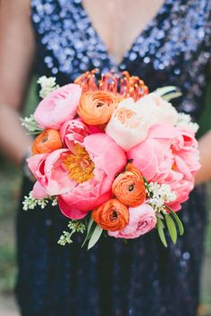 Coral Peony Bouquet with a Blue Sequin Bridesmaids Dress | One Love Photography | Color Theory - Iolite, Coral, and Gold Glam Modern Wedding Inspiration