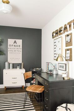 A modern industrial farmhouse office decorated completely on the cheap! www.littlehouseoffour.com