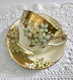 Beautiful vintage china tea cup, made by Royal Albert in England. This is a gorgeous Duo in a butter cream colour with lots of gold. It is in good condition, no chips, cracks or crazing. Please Note: The items I sell are not new, they are vintage or antiques, it goes without
