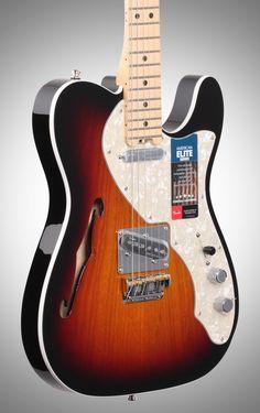Fender American Elite Telecaster Thinline Electric Guitar (Maple, with Case), 3-Color Sunburst