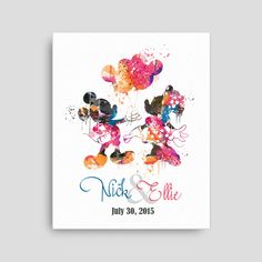 Disney Mickey Mouse Wedding name and date canvas, Disney Mickey Minnie watercolor Disney Watercolor,Disney Wedding mickey wedding gifts ET97 by artRuss on Etsy