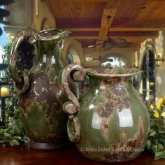 tuscan old world mediterranean decor | French Tuscan Italian Old World Rustic Mediterranean Olive Jugs ...