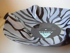 Vinyl Record Zebra Bowl