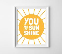 Nursery Printable You are my sunshine Yellow by BabyCoStore