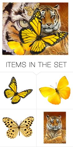 """Tigers and Butterflies"" by deborah-strozier ❤ liked on Polyvore featuring art and modern"