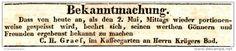 Original-Werbung/ Anzeige 1831 - PORTIONENWEISE GESPEISST/ GRAEF - KAFFEEGARTEN / KRÜGER'S BAD- LEIPZIG -ca. 130 x 20 mm