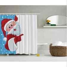 Christmas Santa Claus Red Holiday Art Fabric Shower Curtain Digital Bathroom