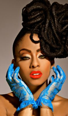 Nerissa Irving's amazing dread locs  forget the dread locs...check out those great blue lace gloves