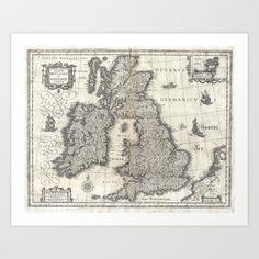 Vintage Map of England and Ireland (1631) Art Print by BravuraMedia