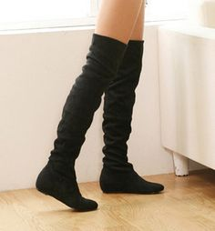 West Blvd Womens LONDON THIGH HIGH Boots Over The Knee Flat Heels