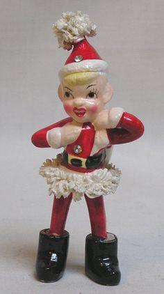 Vintage Christmas KREISS Santa's Helper Elf Pixie w Rhinestones