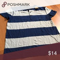 AE Henley Tee NWT. Size medium. Two-toned blue striped. American Eagle Outfitters Shirts Tees - Short Sleeve