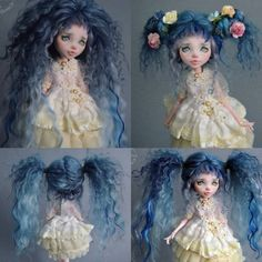 Gorgeous doll wig. Made of 3 kinds of wool. Can make for commission