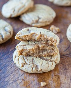 Brown Sugar Maple Cookies. Made with butter, dark brown sugar, light brown sugar, egg, vanilla, maple extract, bread flour, all-purpose flour, cornstarch, baking soda, and salt.