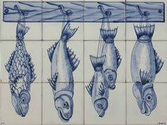 Fish Panel Blue 3Hx4W in Portuguese Hand Painted