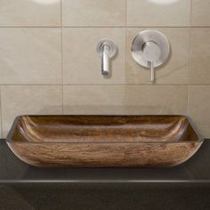 Vigo Rectangular Amber Sunset Glass Vessel Sink and Wall Mount Faucet Set, Brushed Nickel, Brown