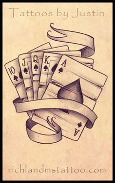 Old school Royal flush tattoo sketch. Old school Card Tattoo Designs, Tattoo Design Drawings, Tattoo Sketches, Playing Card Tattoos, Poker Tattoo, Tattoo Zeichnungen, Tatuagem Old School, Tattoo Stencils, Sleeve Tattoos
