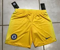 NWT NIKE Chelsea FC Slim Fit Yellow Shorts  Men's 2XL  | eBay Yellow Shorts Mens, Gym Shorts, Chelsea Fc, Confirmation, Nike Logo, Slim, Medium, Fitness, Ebay
