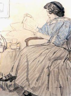 Leendert 'Leo' Gestel (Woerden 1881-1941 Hilversum) Lezende dame