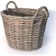 Medium Tapered Round Log Basket - Grey Both practical and stylish, this medium sized round wicker log basket is the perfect fireside storage solution. Tapered in style, this log basket has a generous capacity for storing logs so you won't nee Large Baskets, Baskets On Wall, Wicker Baskets, Laundry Baskets, Fire Basket, Firewood Storage, Basket Decoration, Wicker Furniture, Living Room Modern