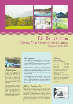 Calistoga, CA Pamper yourself for a weekend and step out of your busy life to reground through yoga practice, healthy food and a serene setting. This weekend retreat at Mayacamas Ranch offers an opportunity to … Click flyer for more >>