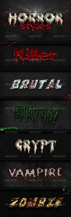 6 Horror Styles by pixel_lady Include: - . - Read Me. Just one click applicable. All styles are made of 1 layer only. Photoshop Tips, Photoshop Brushes, Army Wallpaper, Layer Style, Text Style, Text Effects, Fashion Pictures, Scary, Creepy