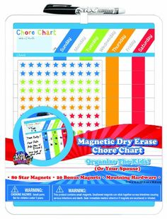 Board Dudes Magnetic Dry Erase Rewards Chore Chart with Marker and Magnets (11020WA-4) - List price: $93.99 Price: $20.33 + Free Shipping