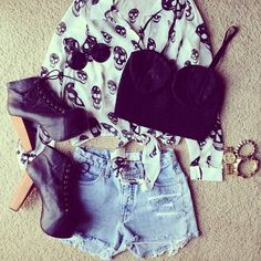litas + high waisted shorts + bustier