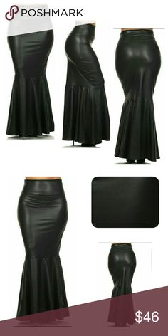 """Faux Leather Maxi Skirt (1X, 2X, 3X) Discontinued Faux Leather Fit & Flare long Maxi skirt. 96% Polyester 4% Spandex, 45"""" long.  FIRM PRICE(1X 14-16) (2X 18-20) (3X 22-24). Approx measurements :                                                                                                                                        1X = Waist 32-35, Hips 40-43                                        2X= Waist 36-39, Hips 44-47                                          3= Waist 40-43, Hips 48-51…"""