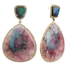 Boulder Opal and Paraiba Tourmaline Earrings from Irene Neuwirth