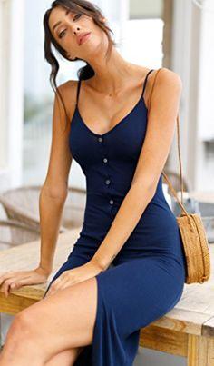 cf13da8dd238 Eliacher Women s Button Down Adjustable Spaghetti Straps Summer Dress  Sleeveless Bodycon Party Maxi Dress 95%