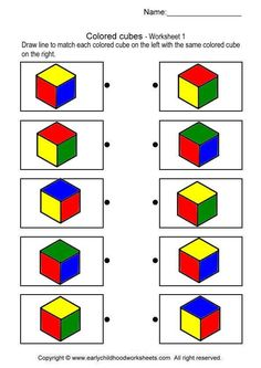 Printable brain teaser worksheets for helping preschool and kindergarten kids practice to recognize cube shapes. Kindergarten, Preschool Math, Preschool Worksheets, Montessori Activities, Preschool Activities, Visual Perception Activities, Shapes Worksheets, Vision Therapy, Thinking Skills