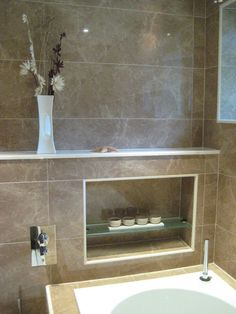 1000 images about bathrooms on pinterest clawfoot tubs for Bathroom alcove shelves