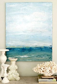 Savor your Beach Memories with Shell Decor & Photo Displays - DIY Palette Knife Beach Art!homescapes-sd… San Diego h - Coastal Art, Coastal Style, Coastal Living, Abstract Ocean Painting, Diy Abstract Art, Blue Painting, Diy Painting, Vacation Memories, Beach Art