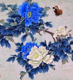 chinska sztuka,niebieskie piwonie