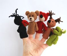 5 animal finger puppet crocheted frog bear fox by crochAndi, $25.00