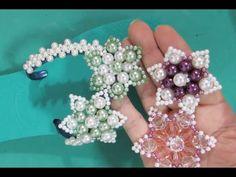 Um jeito diferente de fazer a Flor de Pérolas FLOCO de NEVE - Maguida Silva - YouTube Beaded Shoes, Beaded Sandals, Beaded Crafts, Beaded Ornaments, Diy Jewelry, Beaded Jewelry, Beaded Bracelets, Beading Tutorials, Beading Patterns