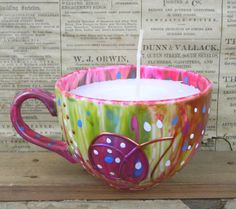 Scented cup candle hand painteduniqueone off by ClaireBaroneArt, £15.00