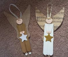 Angel Wood Christmas Ornaments Made From Lolly Stick