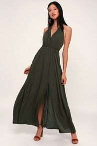 fe414b8cdef Finest Hour Olive Green Halter Maxi Dress Olive Green Bridesmaid Dresses