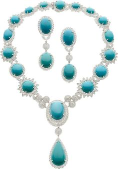 Turquoise, Diamond, White Gold Jewelry Suite. .