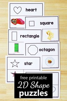 With these free printable shape photo puzzles, preschoolers and kindergarteners can practice shape recognition and identifying objects that match the various shapes. 2-D shape puzzles printable.