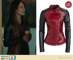 Cat's red and black leather jacket on Beauty and the Beast. Outfit Details: http://wornontv.net/27833 #BATB #fashion