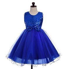 Dressy Daisy Girls Sequined Tulle Dress Wedding Flower Girl Pageant Formal Occasion Size 6X Royal Blue * Visit the image link more details.