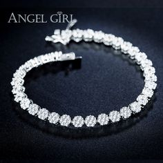 Angel girl AAA 1 Round 0.5 Carat Cubic Zirconia Tennis Micro Inlay Bracelets & Bangles double-safety-clasps christmas gifts