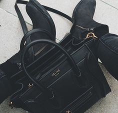 celine paris - small micro black luggage pebbled leather tote bag $3772.04 (i will not get this)