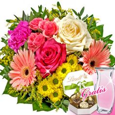 Amazing bouquet with 1 cream colored rose, 1 red rose, 1 pink colored carnation rose, 1 yellow chrysanthemum and 2 pink colored gerberas.  With a package of flower nutrients and nursing instructions.  Send #Corporate #Flowers to #Germany