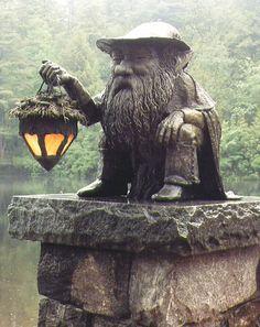 Nightwatch Gnome - Bronze sculpture by Deran Wright for Camp Topridge in the Adirondacks, Saranac, New York.