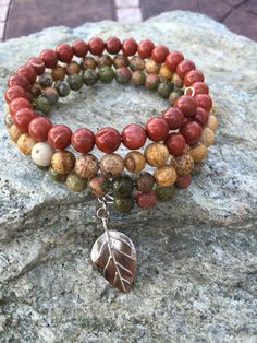 Natural Gemstone Fall Autumn Earthtone Memory Wire Beaded Bracelet with Leaf Charm