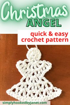 This crochet angel ornament is perfect for Christmas! Need a quick last-minute gift for a family member or co-worker? How about some new holiday decorations for your house? This ornament takes just 10 minutes to crochet. You can also use any weight yarn with a coordinating hook size to make this ornament. A free crochet pattern by Simply Hooked by Janet. | #christmascrochet #crochetangel #crochetornament #freecrochetpattern Angel Crochet Pattern Free, Crochet Ornament Patterns, Crochet Applique Patterns Free, Christmas Crochet Patterns, Holiday Crochet, Free Crochet, Crochet Angels, Free Pattern, Knitting Patterns